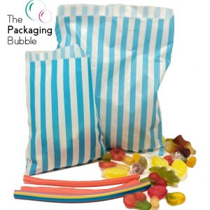 Blue Candy Stripe Paper Bags