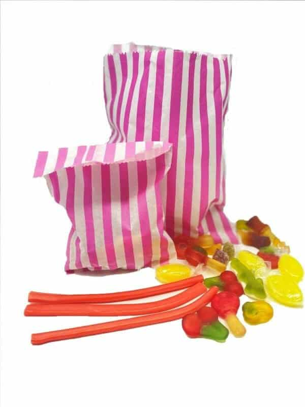 Pink Candy Stripe Paper Bags