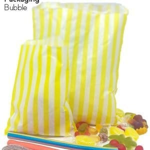 Yellow Candy Stripe Paper Bags